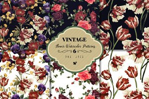 Seamless floral patterns bundle