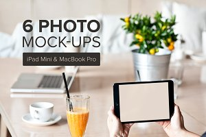 6 iPad mini and Macbook mockups