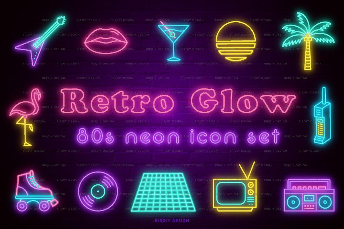 Retro Glow 80s Neon Icon Set