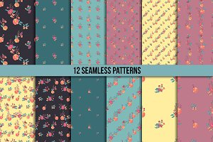 Butterflies and flowers. 12 patterns