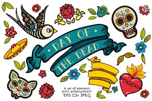 Day of the Dead. Hand drawn set.