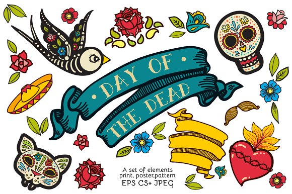 Day of the Dead. Hand drawn set. ~ Illustrations ~ Creative Market