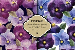 Seamless floral pattern with pansy