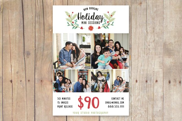 christmas mini session template flyer templates creative market
