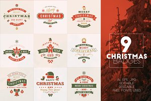 Set of 9 Christmas Badges