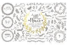 Hand Drawn Flower Design Elements