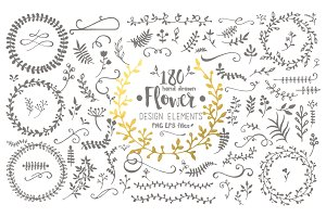 Hand Drawn Flower Design Elements