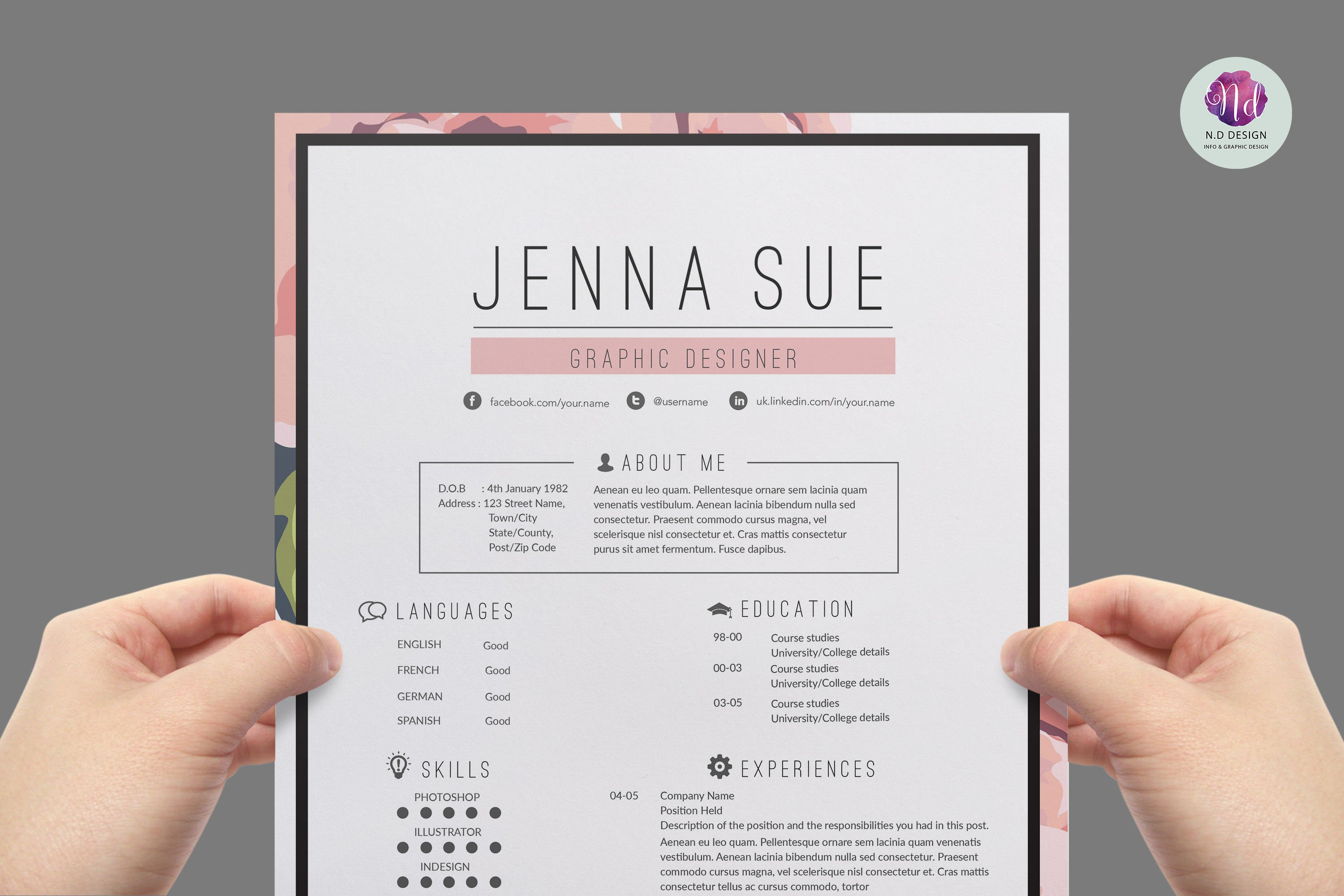 floral resume package resume templates creative market pro