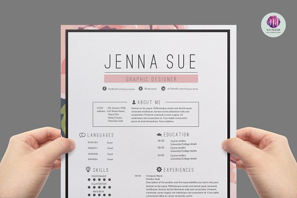 floral resume package resume templates creative market
