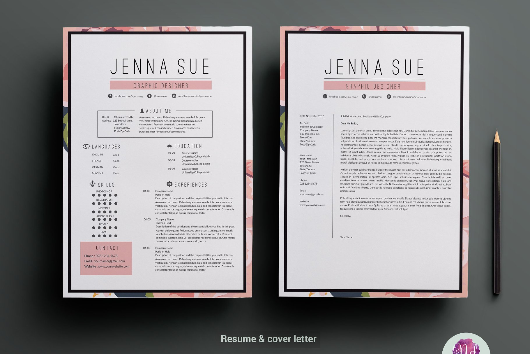 Floral resume package - Resume Templates | Creative Market Pro