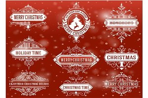 Christmas labels and banners set.