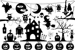 Halloween Silhouette Clipart Set