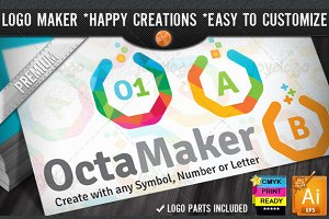 Colorful Flat Octagon Logo Maker Set