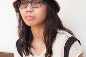portrait asia woman close eye