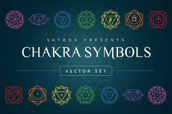 Chakra Symbols Vector Set Illustrations Creative Market