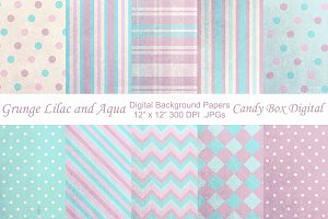 Grunge Lilac and Aqua Backgrounds