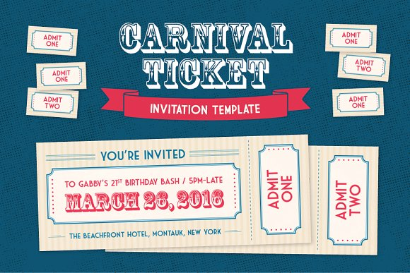 carnival ticket invitation template invitation templates