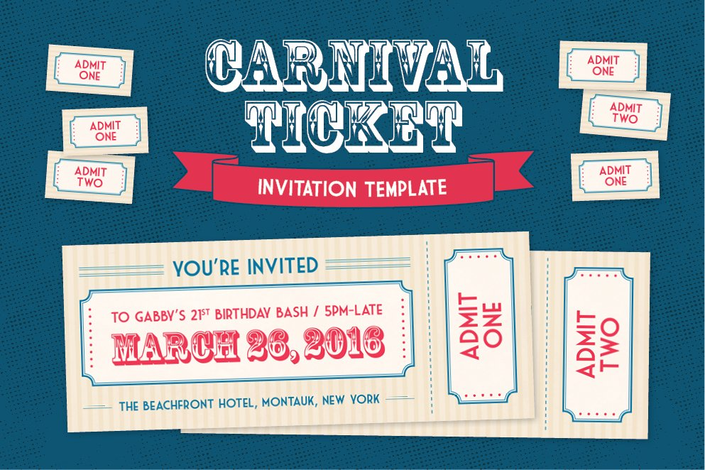carnival ticket invitation template invitation templates creative market