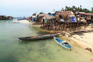 Sea gipsy village in Mabul island