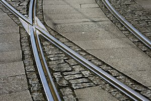 tram rails in the city