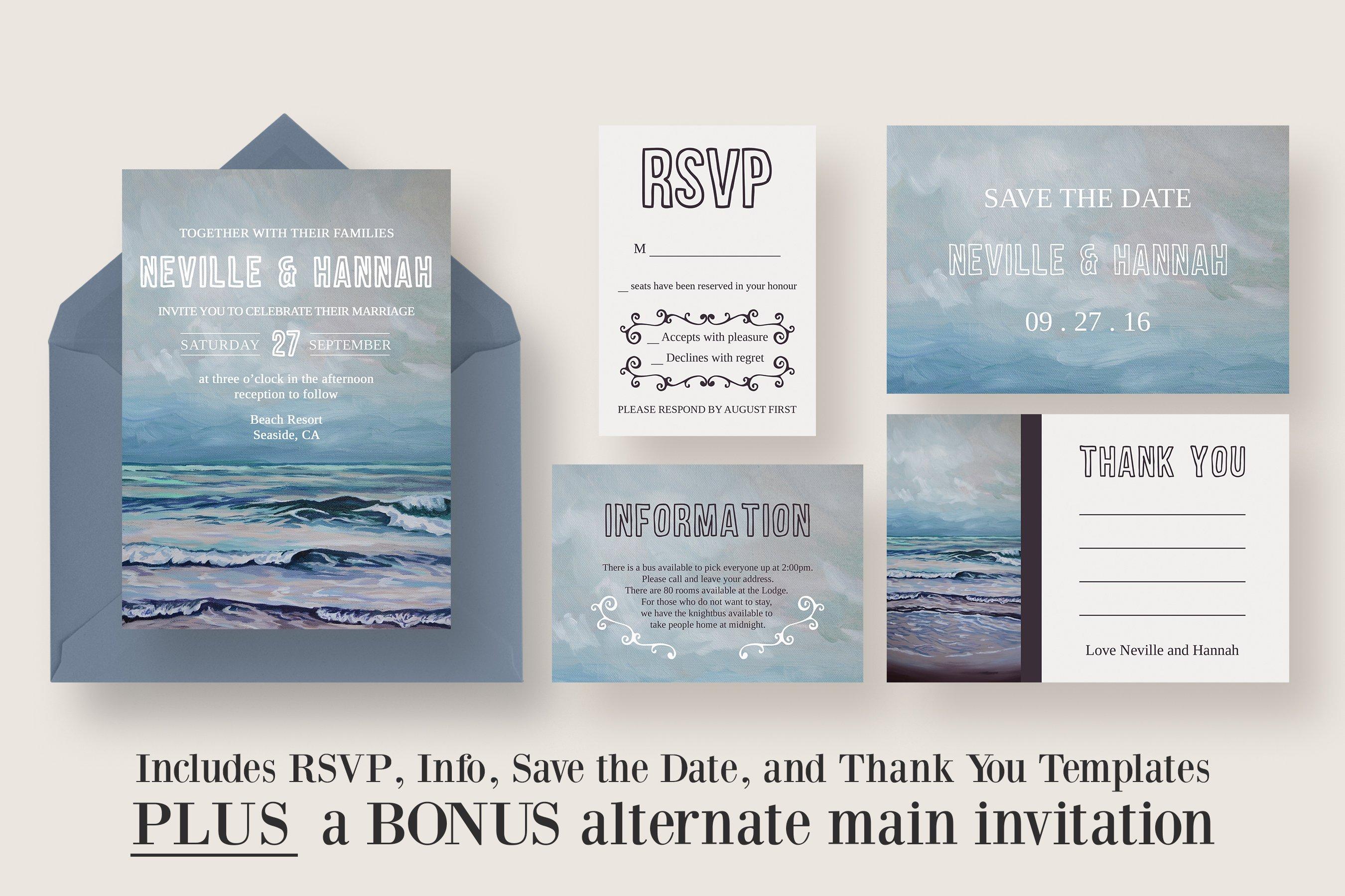 Painted Seascape Wedding Suite ~ Invitation Templates ~ Creative Market