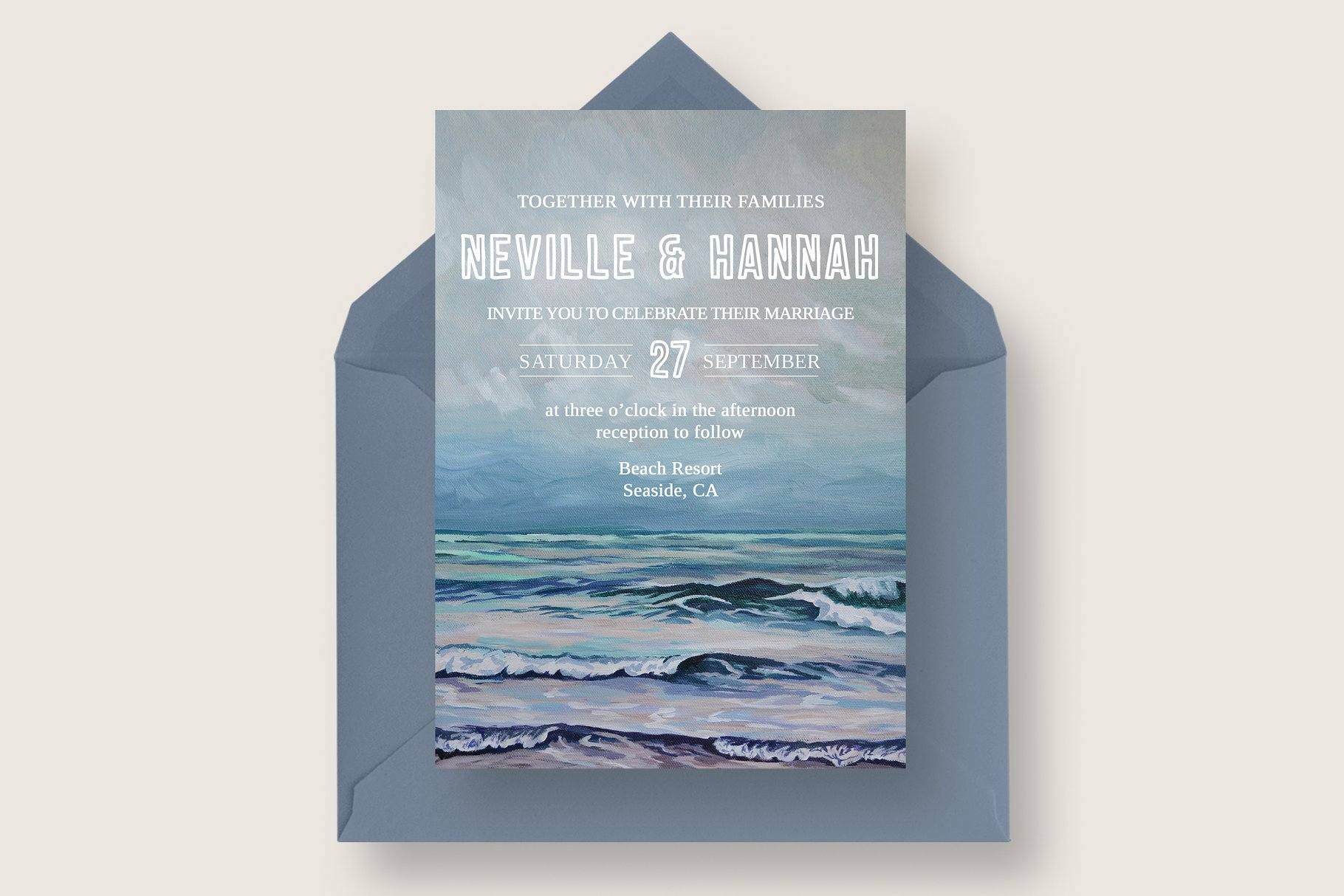 Painted Seascape Wedding Suite - Invitation Templates | Creative ...