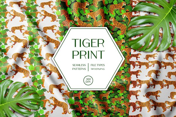 Tiger In The Tropical Leaves Trend Pre Designed Photoshop Graphics Creative Market 12 types of tropical leaves to bring paradise into your. creative market