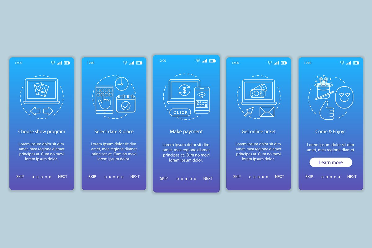 Show onboarding mobile app pages