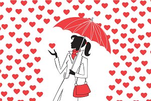 Woman umbrella rain red hearts