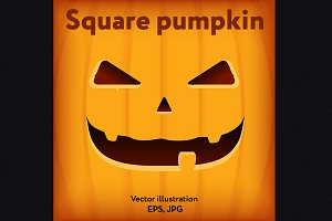 Halloween square orange pumpkin