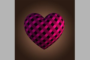Pink Tartan Heart Shape