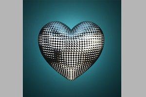 Silver Knurled Heart Shape