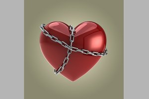 Red Heart Shape in Chains
