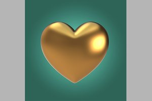Matt Gold Heart Shape