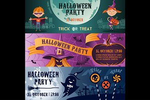 Halloween party flat banners set