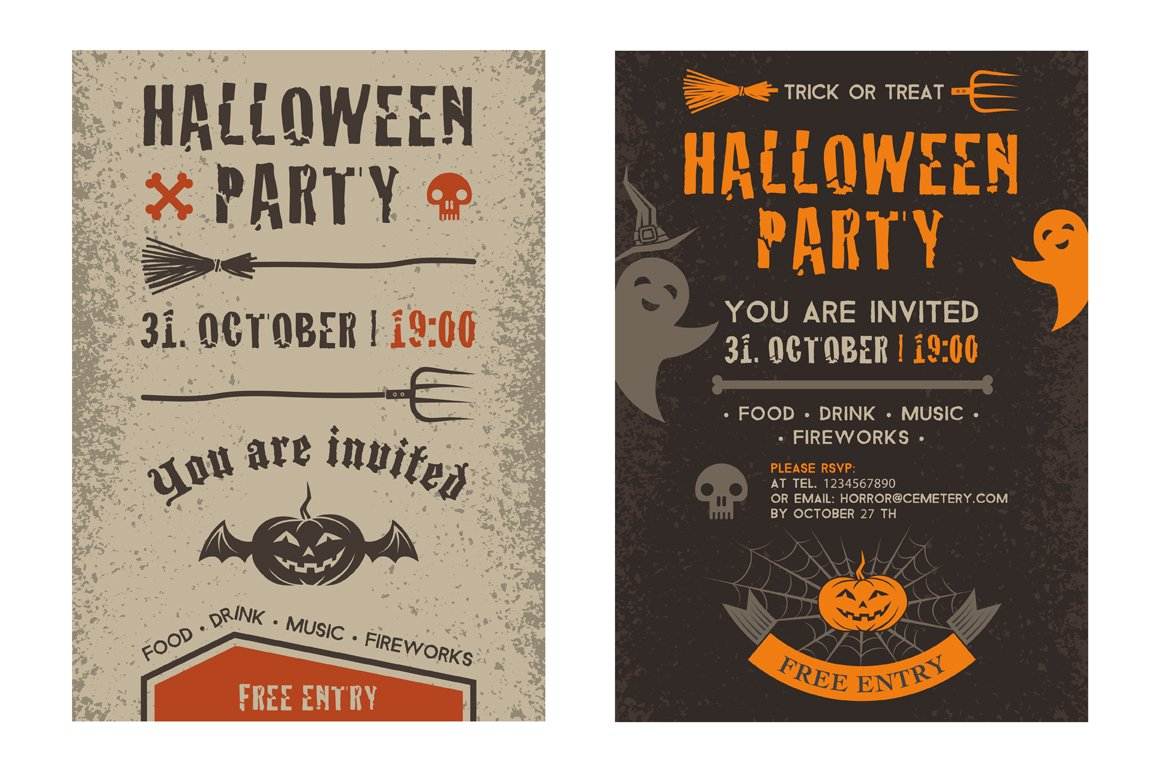 Halloween party invitation card. ~ Flyer Templates ~ Creative Market