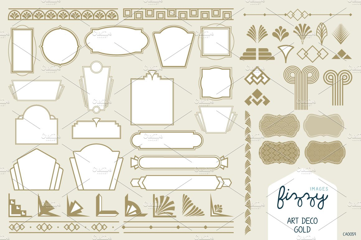 Art deco gold vector elements illustrations creative for Deco graphic
