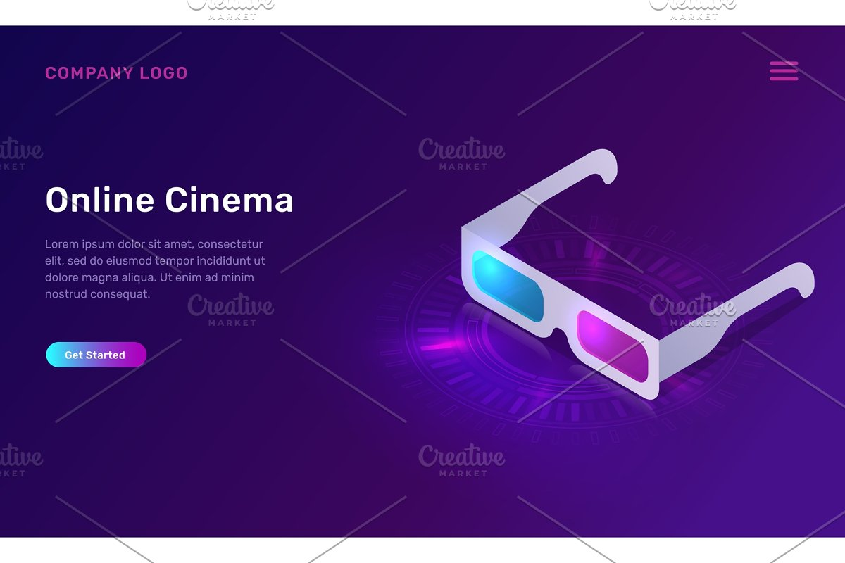 Online cinema or movie, isometric
