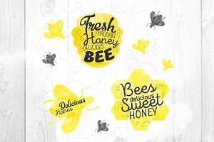 Watercolor Honey bees logos