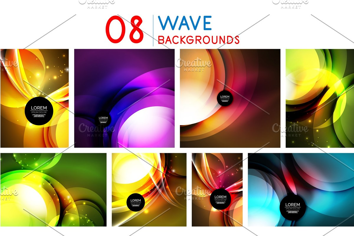 Set of abstract neon graphic design