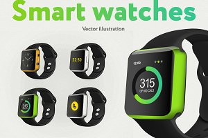 Set of the vector smart watches