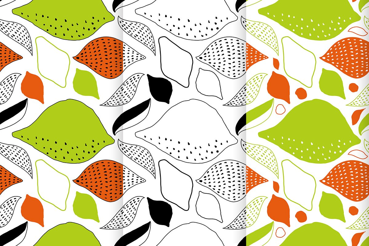 Seamless vector patterns with lemons