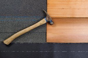 Roofing materials with hammer