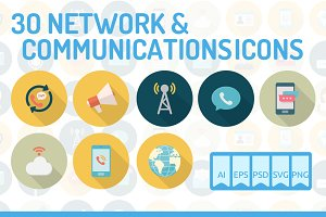 30 Network & Communication Icons