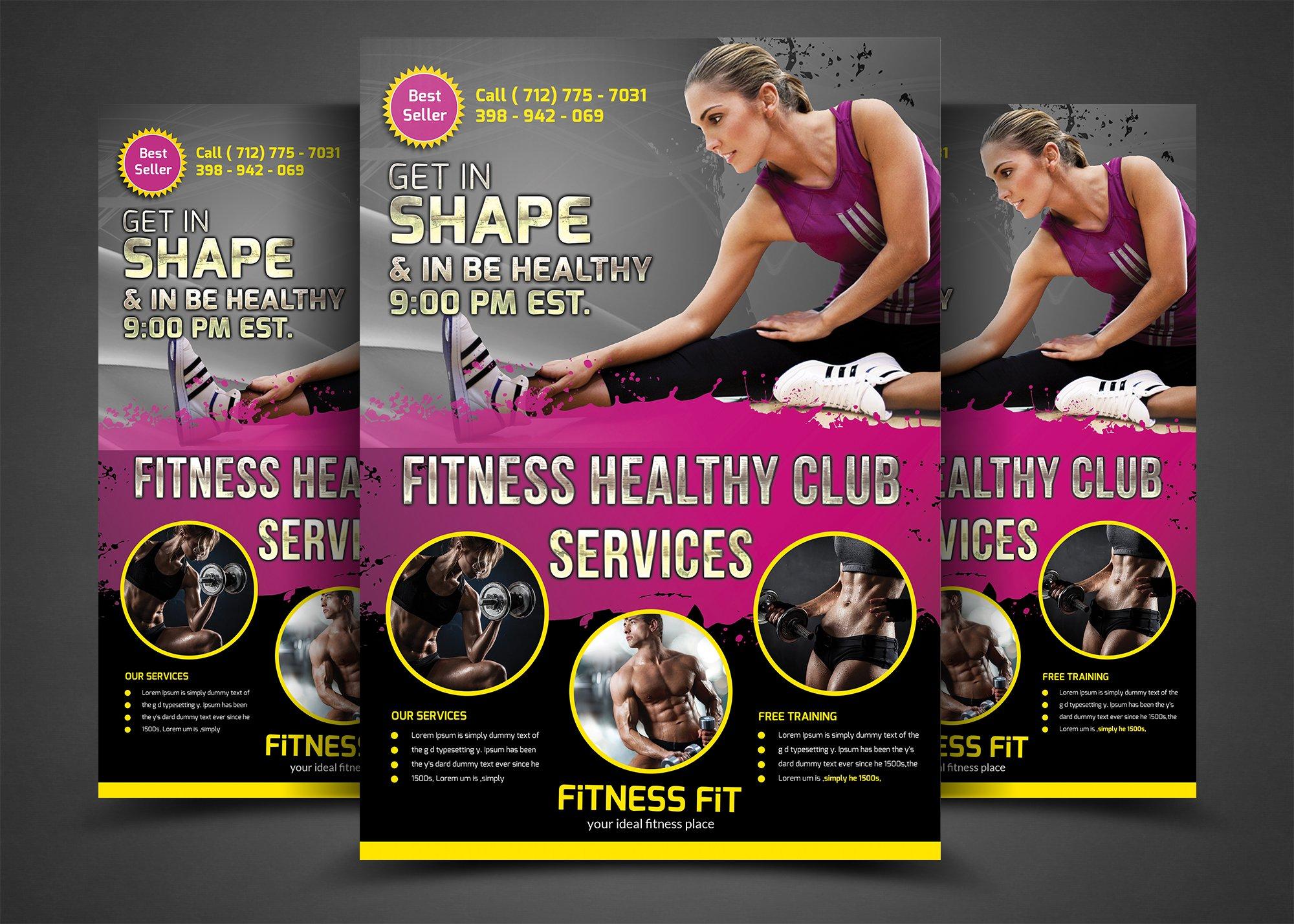 fitness flyer gym flyer templates flyer templates creative market