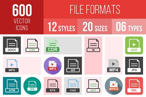 600 File Formats Icons