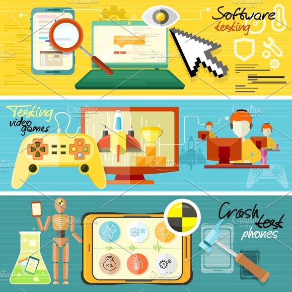 Software Testing, Games Crash Test in Illustrations