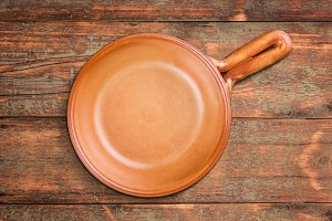 Brown handled bowl