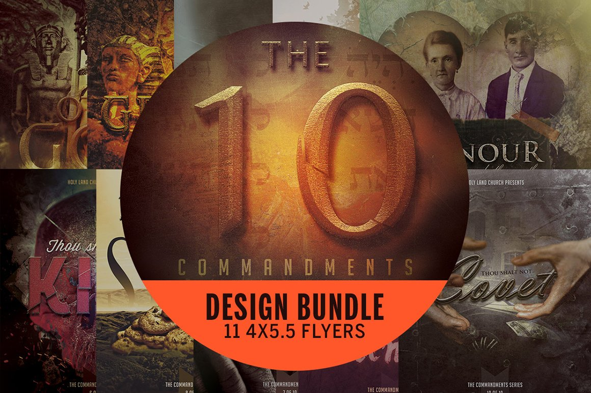 the ten commandments flyer bundle flyer templates on creative market