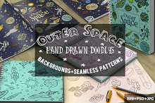 Space Doodle Patterns and Background